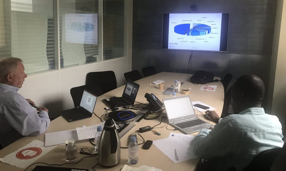 Experts conducting MEDISAFE webinard at Expertise France HQ